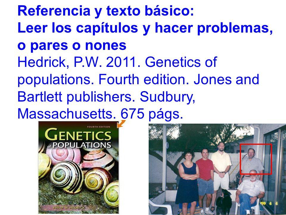Referencia y texto básico: Leer los capítulos y hacer problemas, o pares o nones Hedrick, P.W.