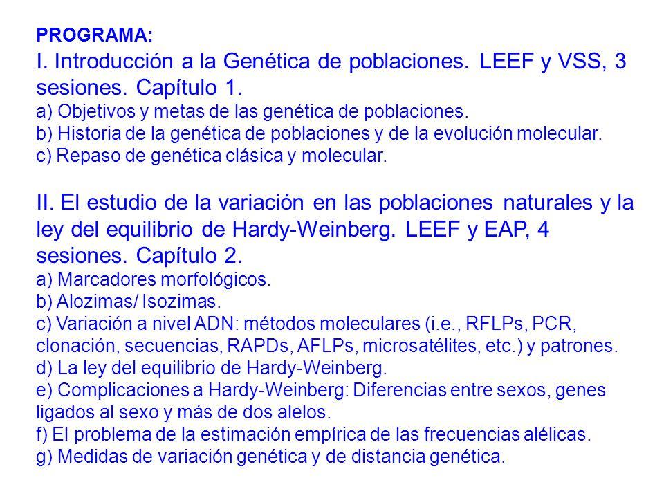 PROGRAMA: I.Introducción a la Genética de poblaciones.