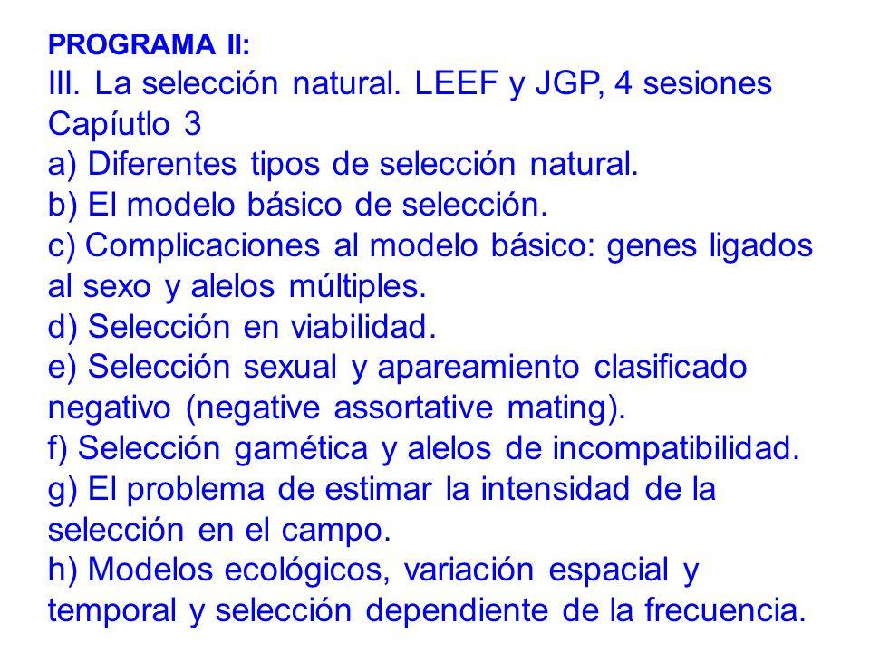 PROGRAMA II: III.La selección natural.