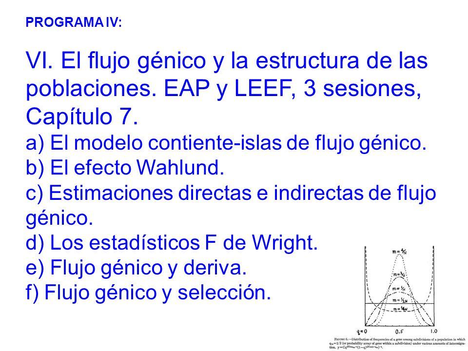 PROGRAMA IV: VI.El flujo génico y la estructura de las poblaciones.