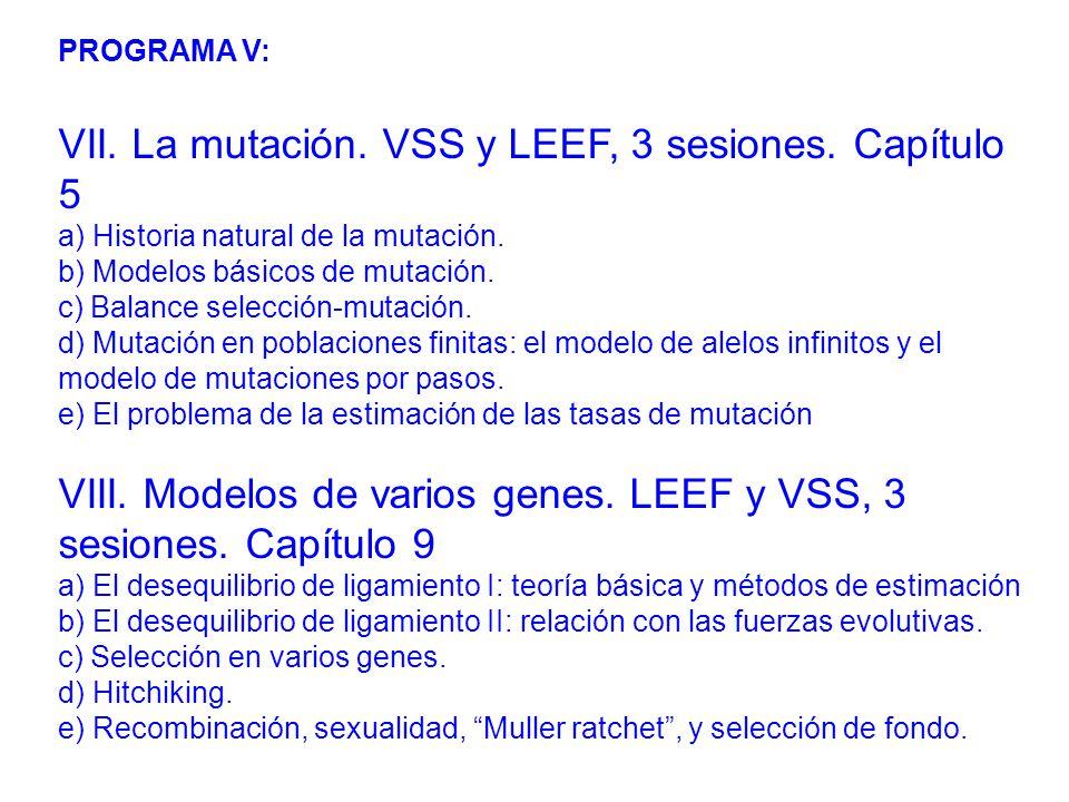 PROGRAMA V: VII.La mutación. VSS y LEEF, 3 sesiones.