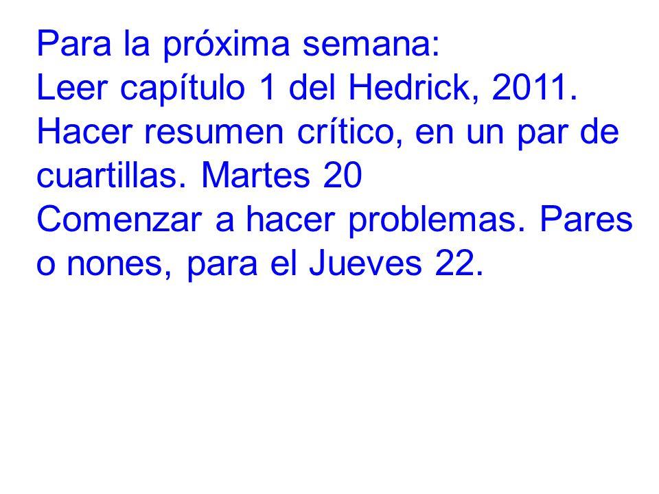 Para la próxima semana: Leer capítulo 1 del Hedrick, 2011.