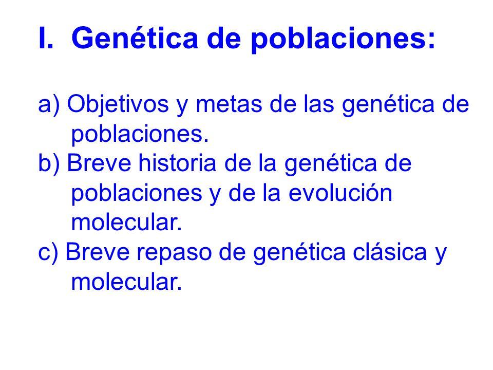 I.Genética de poblaciones: a) Objetivos y metas de las genética de poblaciones.
