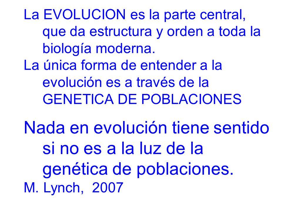 La EVOLUCION es la parte central, que da estructura y orden a toda la biología moderna.