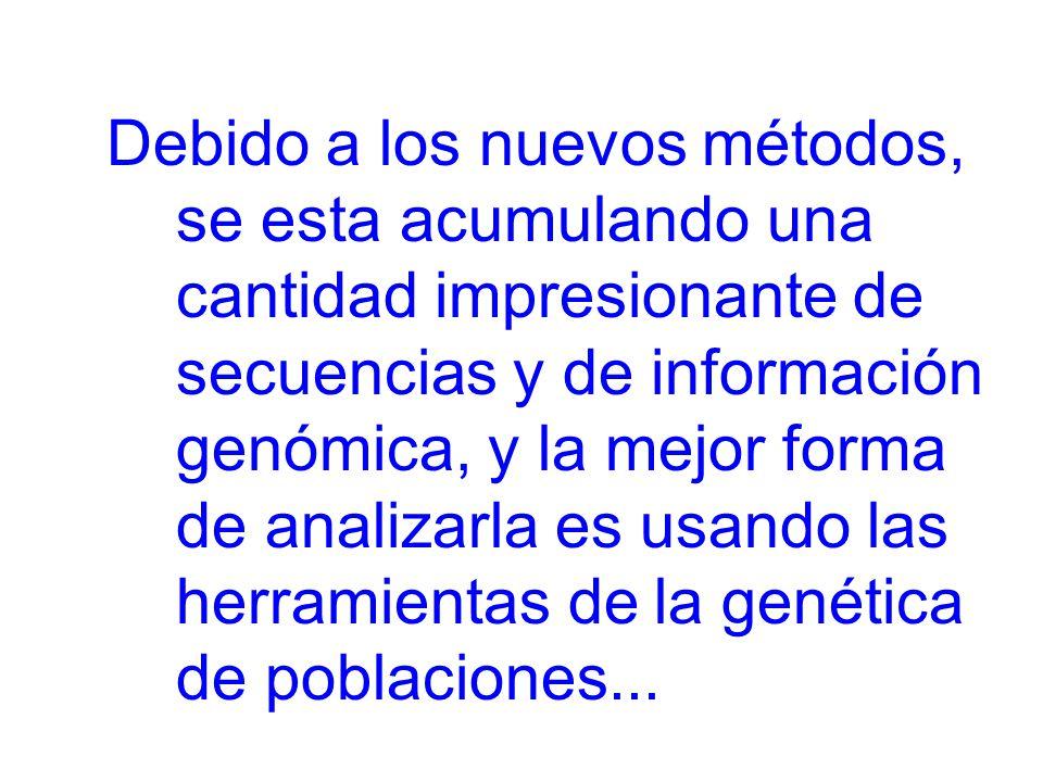 Debido a los nuevos métodos, se esta acumulando una cantidad impresionante de secuencias y de información genómica, y la mejor forma de analizarla es usando las herramientas de la genética de poblaciones...