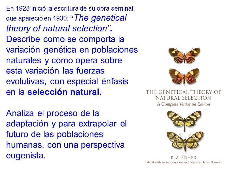 En 1928 inició la escritura de su obra seminal, que apareció en 1930: The genetical theory of natural selection.