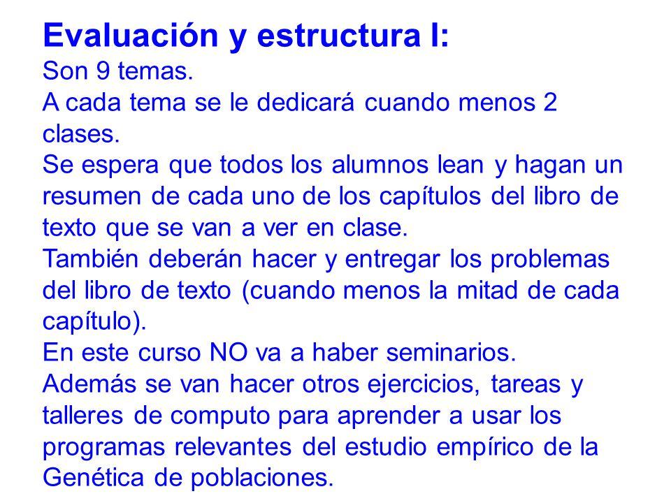 Evaluación y estructura I: Son 9 temas.A cada tema se le dedicará cuando menos 2 clases.