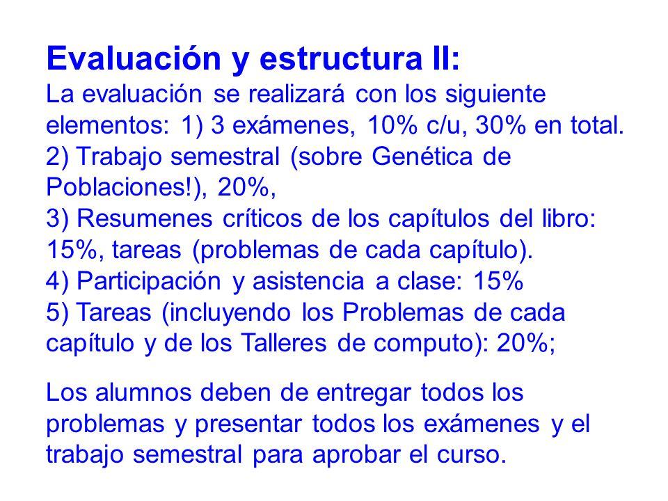 Evaluación y estructura II: La evaluación se realizará con los siguiente elementos: 1) 3 exámenes, 10% c/u, 30% en total.