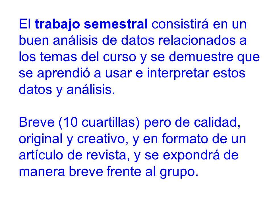 El trabajo semestral consistirá en un buen análisis de datos relacionados a los temas del curso y se demuestre que se aprendió a usar e interpretar estos datos y análisis.