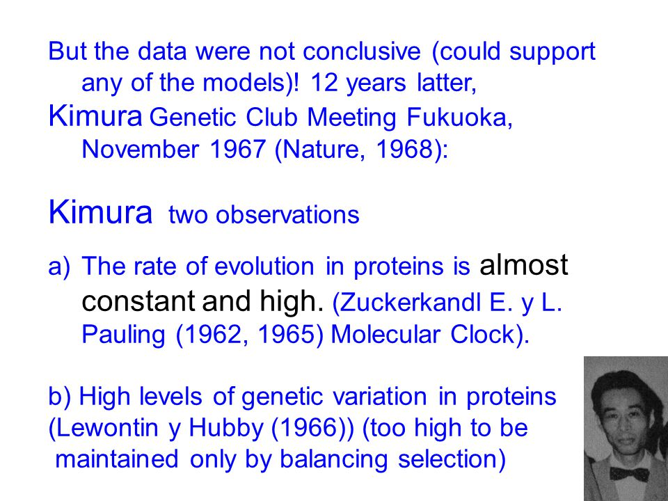 But the data were not conclusive (could support any of the models)! 12 years latter, Kimura Genetic Club Meeting Fukuoka, November 1967 (Nature, 1968)