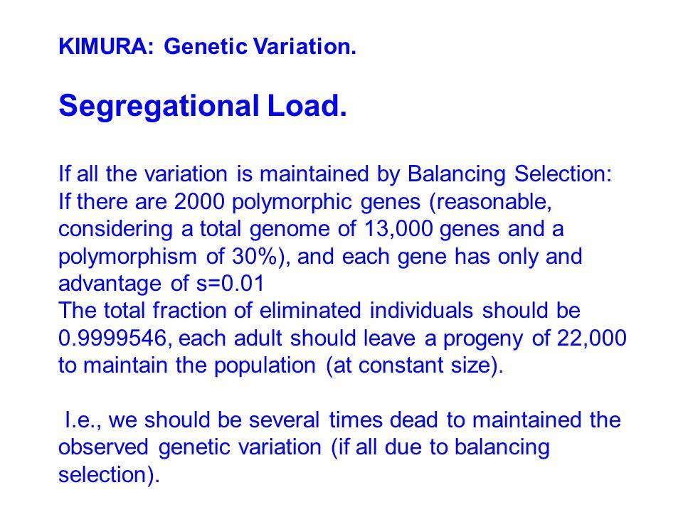 KIMURA: Genetic Variation.Segregational Load.