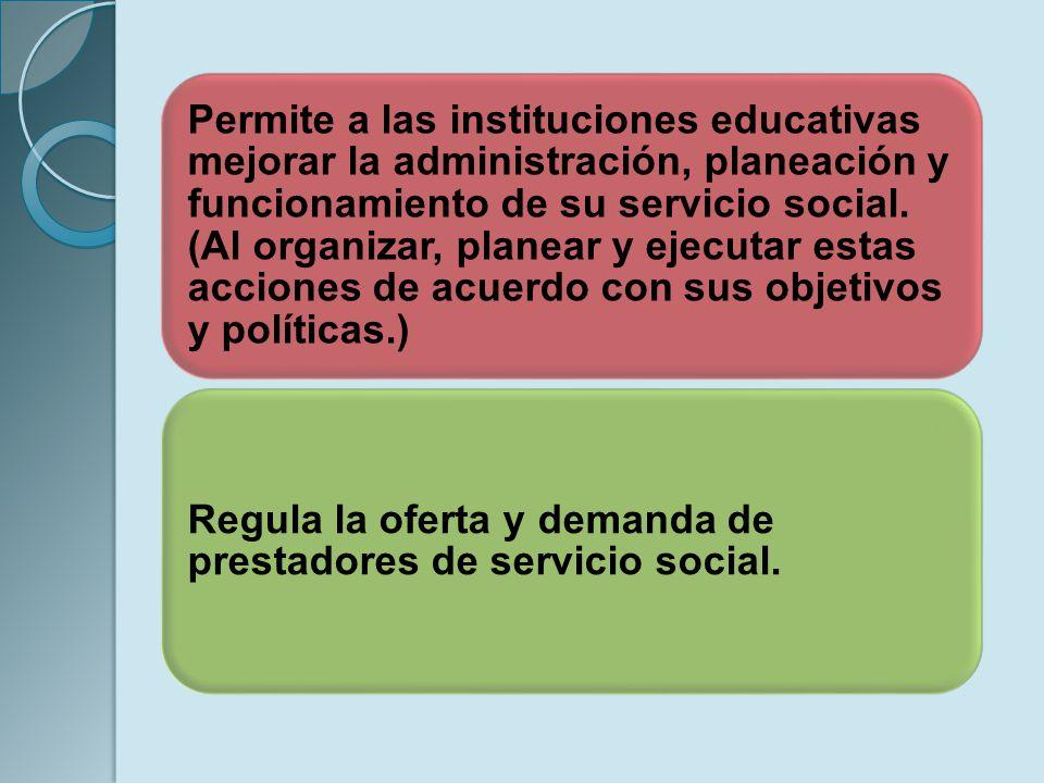 Permite a las instituciones educativas mejorar la administración, planeación y funcionamiento de su servicio social. (Al organizar, planear y ejecutar
