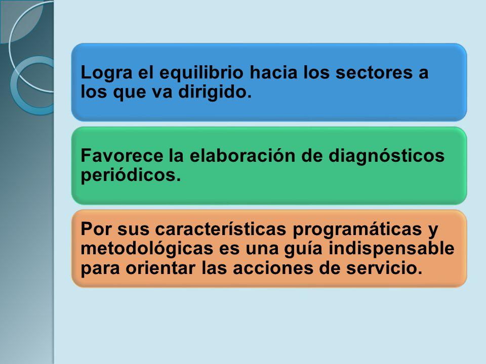 Logra el equilibrio hacia los sectores a los que va dirigido. Favorece la elaboración de diagnósticos periódicos. Por sus características programática