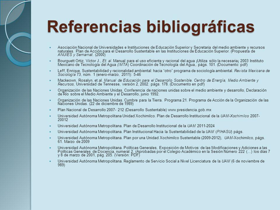 Referencias bibliográficas Asociación Nacional de Universidades e Instituciones de Educación Superior y Secretaria del medio ambiente y recursos natur