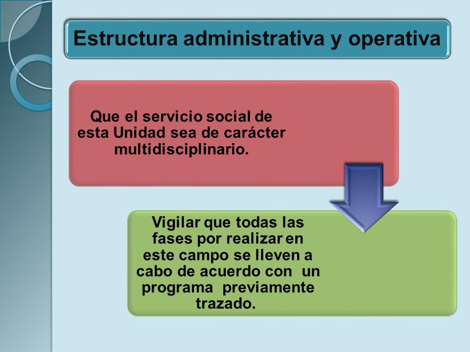 Que el servicio social de esta Unidad sea de carácter multidisciplinario. Vigilar que todas las fases por realizar en este campo se lleven a cabo de a