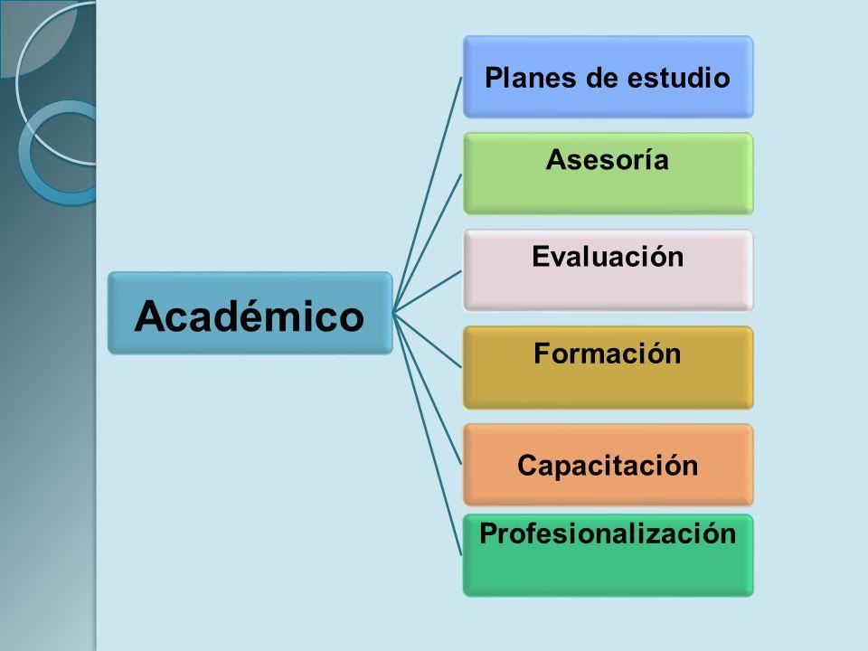 Académico Planes de estudio AsesoríaEvaluaciónFormación Capacitación Profesionalización