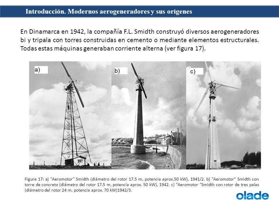 Introducción. Modernos aerogeneradores y sus orígenes En Dinamarca en 1942, la compañía F.L. Smidth construyó diversos aerogeneradores bi y tripala co