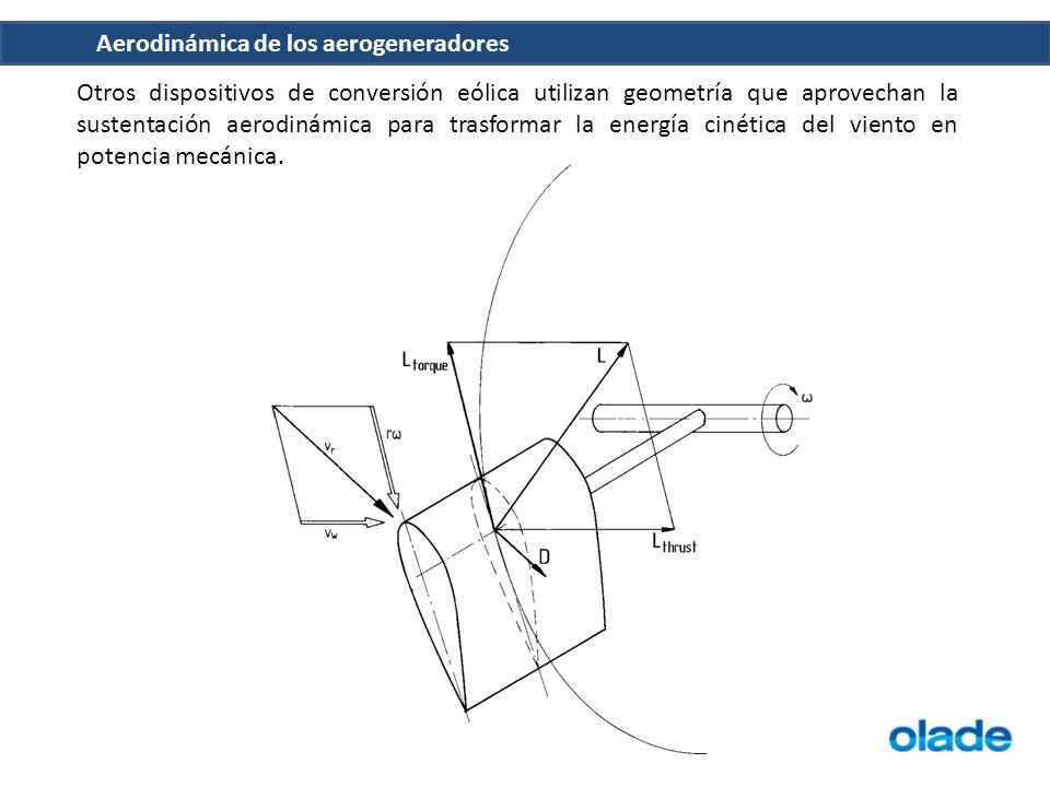 Otros dispositivos de conversión eólica utilizan geometría que aprovechan la sustentación aerodinámica para trasformar la energía cinética del viento en potencia mecánica.