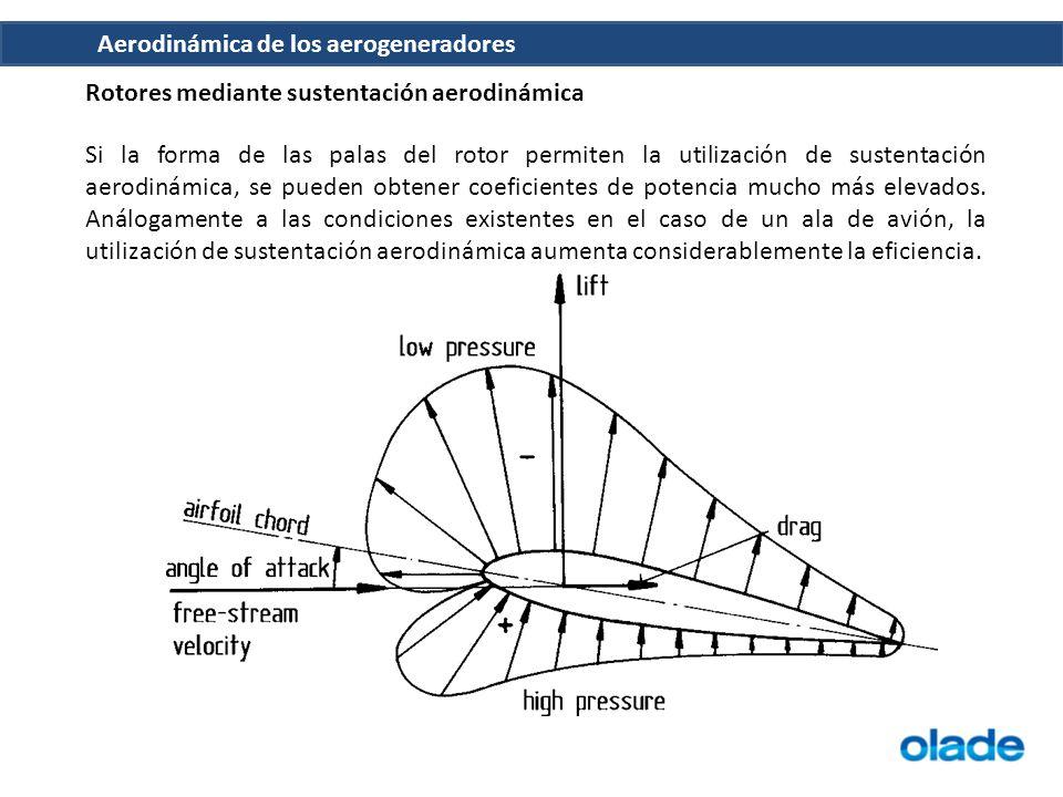 Aerodinámica de los aerogeneradores Rotores mediante sustentación aerodinámica Si la forma de las palas del rotor permiten la utilización de sustentación aerodinámica, se pueden obtener coeficientes de potencia mucho más elevados.