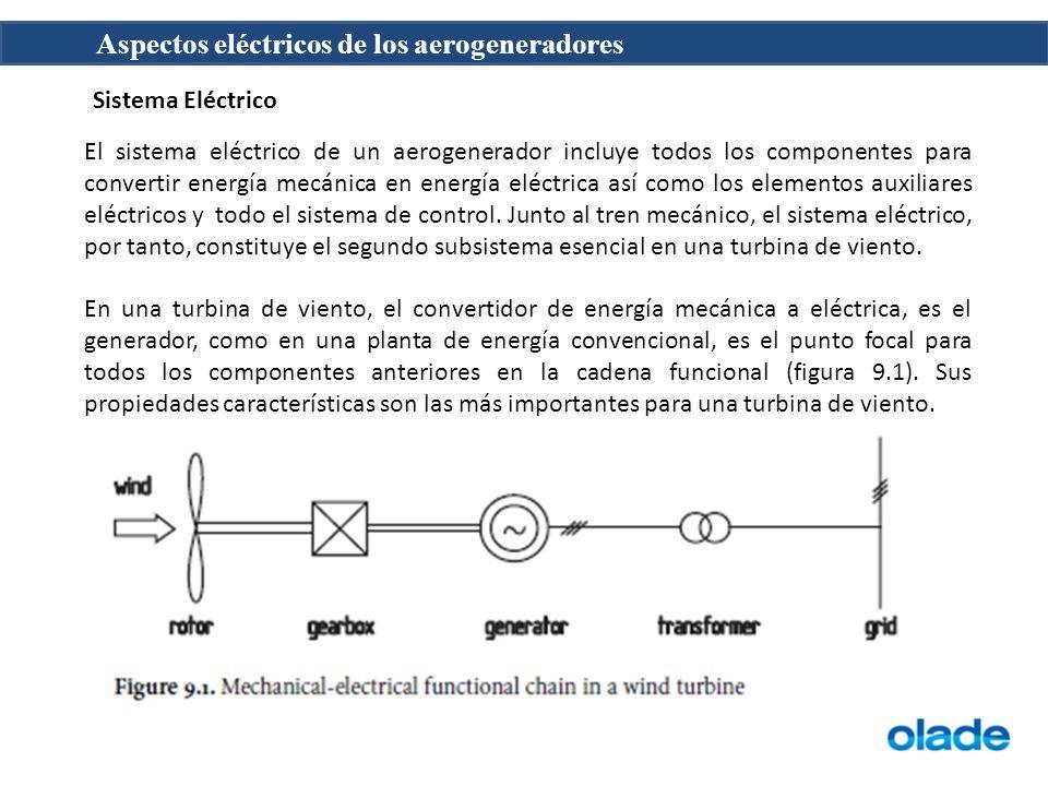 Aspectos eléctricos de los aerogeneradores El sistema eléctrico de un aerogenerador incluye todos los componentes para convertir energía mecánica en energía eléctrica así como los elementos auxiliares eléctricos y todo el sistema de control.