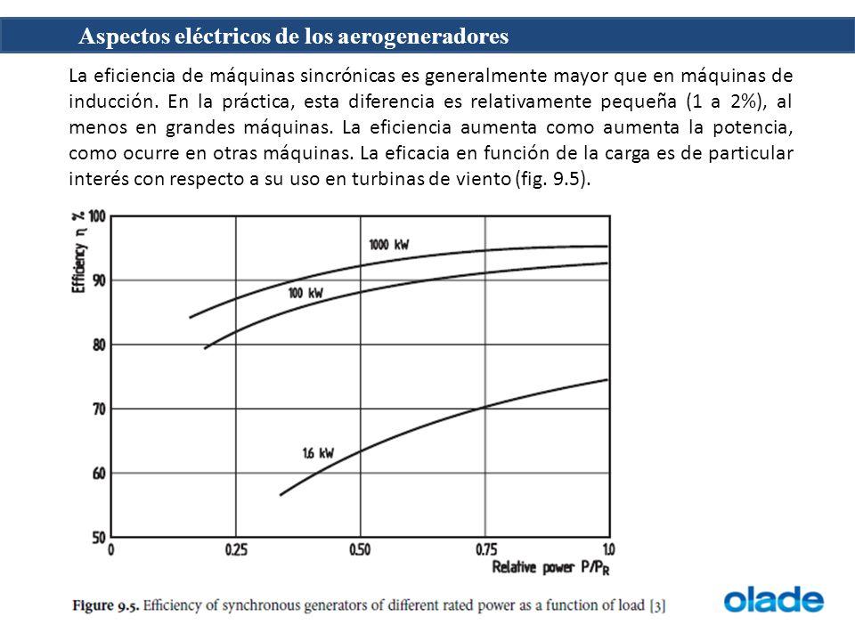 Aspectos eléctricos de los aerogeneradores La eficiencia de máquinas sincrónicas es generalmente mayor que en máquinas de inducción.