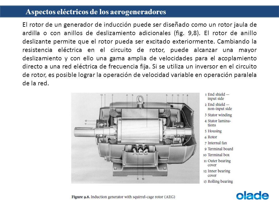 Aspectos eléctricos de los aerogeneradores El rotor de un generador de inducción puede ser diseñado como un rotor jaula de ardilla o con anillos de deslizamiento adicionales (fig.