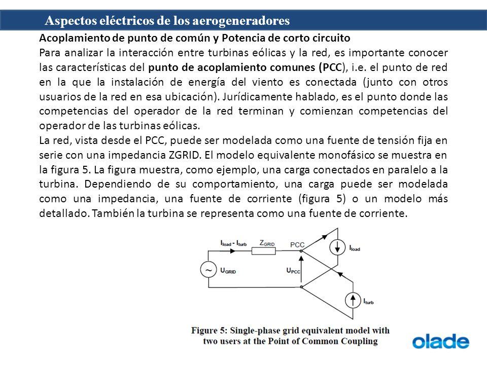 Aspectos eléctricos de los aerogeneradores Acoplamiento de punto de común y Potencia de corto circuito Para analizar la interacción entre turbinas eólicas y la red, es importante conocer las características del punto de acoplamiento comunes (PCC), i.e.