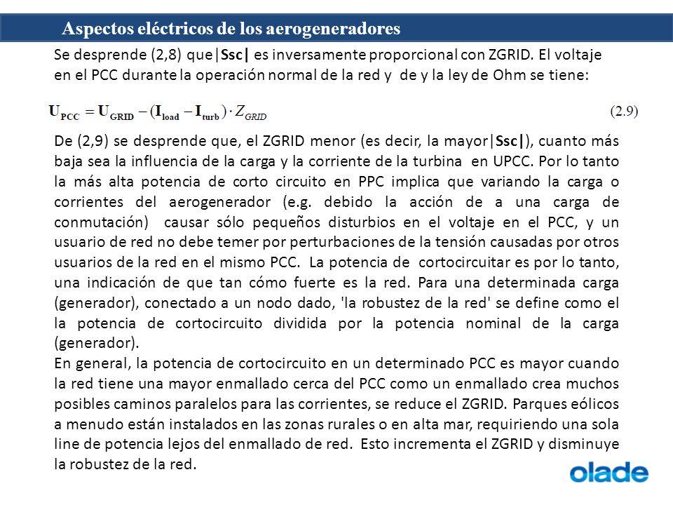 Aspectos eléctricos de los aerogeneradores Se desprende (2,8) que|Ssc| es inversamente proporcional con ZGRID.