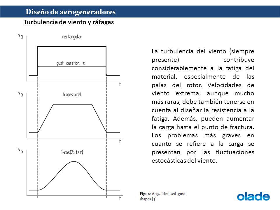 Diseño de aerogeneradores Turbulencia de viento y ráfagas La turbulencia del viento (siempre presente) contribuye considerablemente a la fatiga del ma