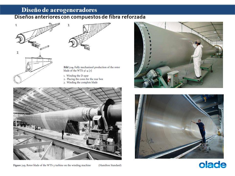 Diseño de aerogeneradores Diseños anteriores con compuestos de fibra reforzada