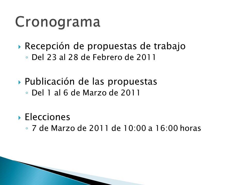 Recepción de propuestas de trabajo Del 23 al 28 de Febrero de 2011 Publicación de las propuestas Del 1 al 6 de Marzo de 2011 Elecciones 7 de Marzo de 2011 de 10:00 a 16:00 horas