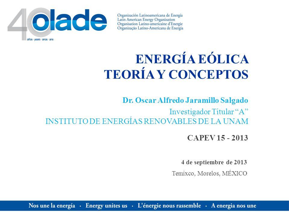 ENERGÍA EÓLICA TEORÍA Y CONCEPTOS CAPEV 15 - 2013 Dr. Oscar Alfredo Jaramillo Salgado Investigador Titular A INSTITUTO DE ENERGÍAS RENOVABLES DE LA UN