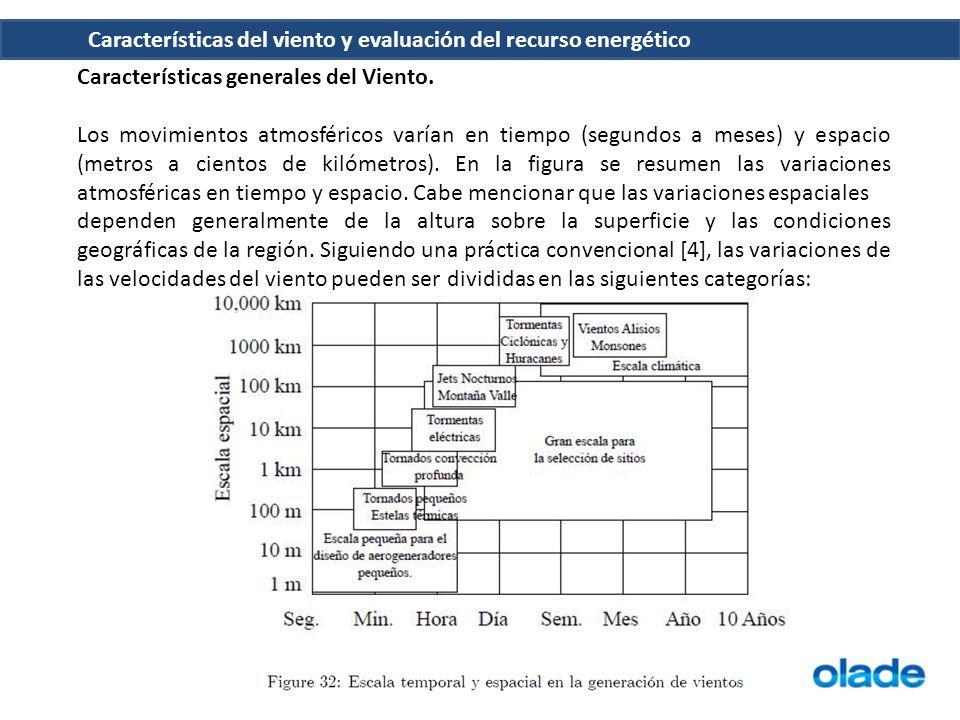 Características del viento y evaluación del recurso energético Características generales del Viento. Los movimientos atmosféricos varían en tiempo (se