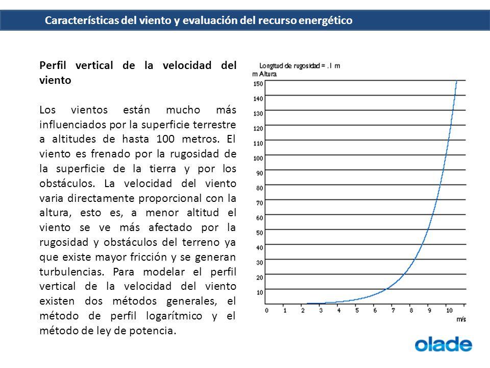 Características del viento y evaluación del recurso energético Perfil vertical de la velocidad del viento Los vientos están mucho más influenciados po