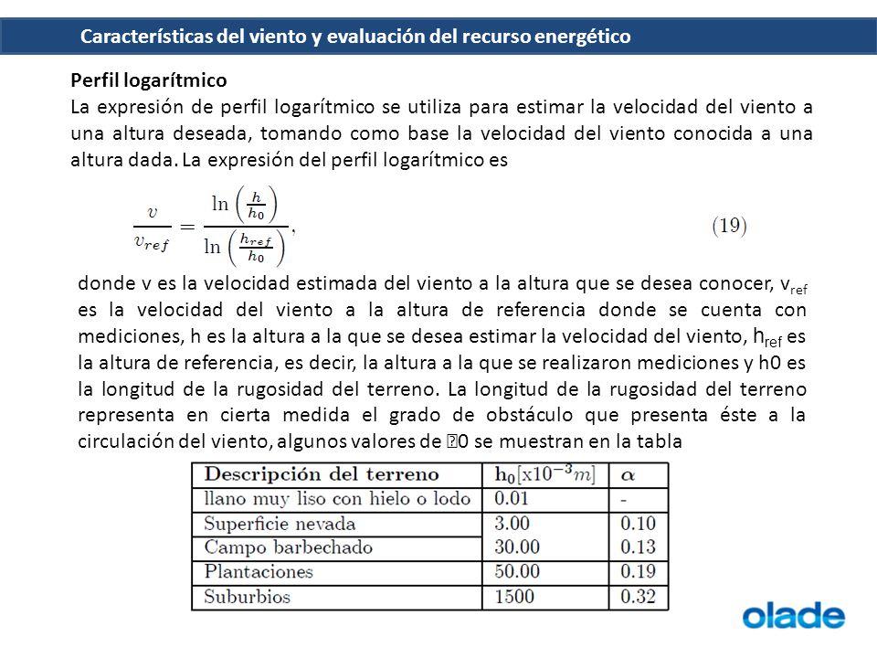 Características del viento y evaluación del recurso energético Perfil logarítmico La expresión de perfil logarítmico se utiliza para estimar la veloci