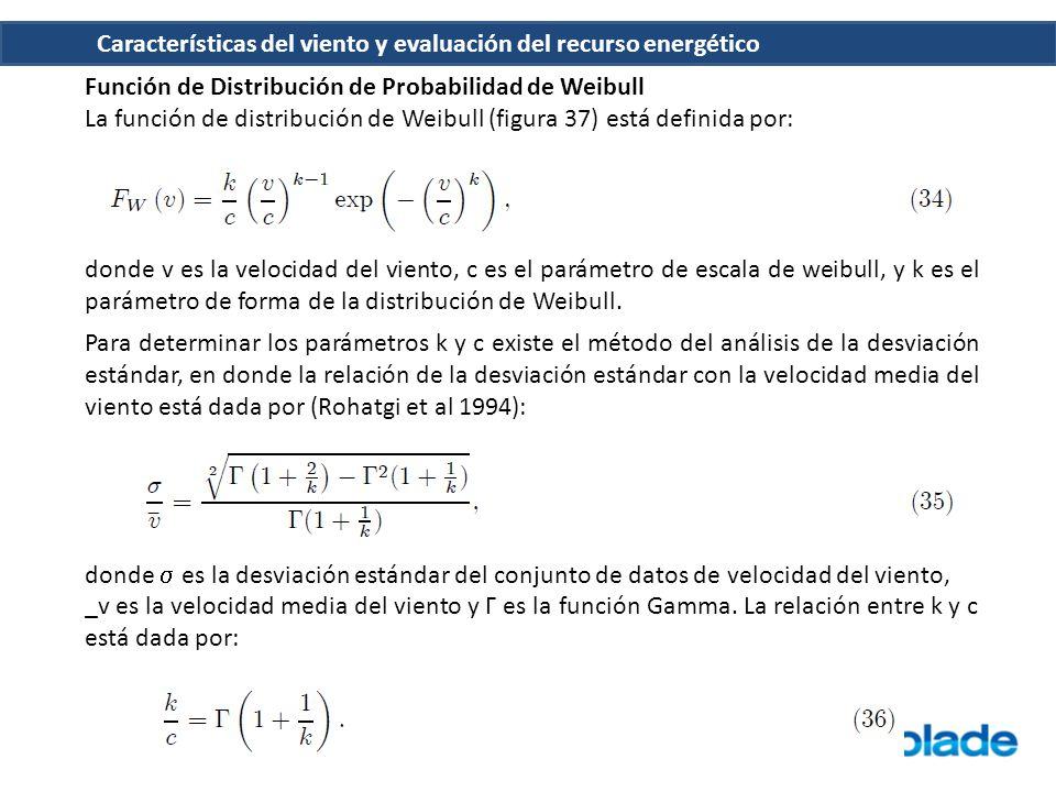 Función de Distribución de Probabilidad de Weibull La función de distribución de Weibull (figura 37) está definida por: donde v es la velocidad del vi