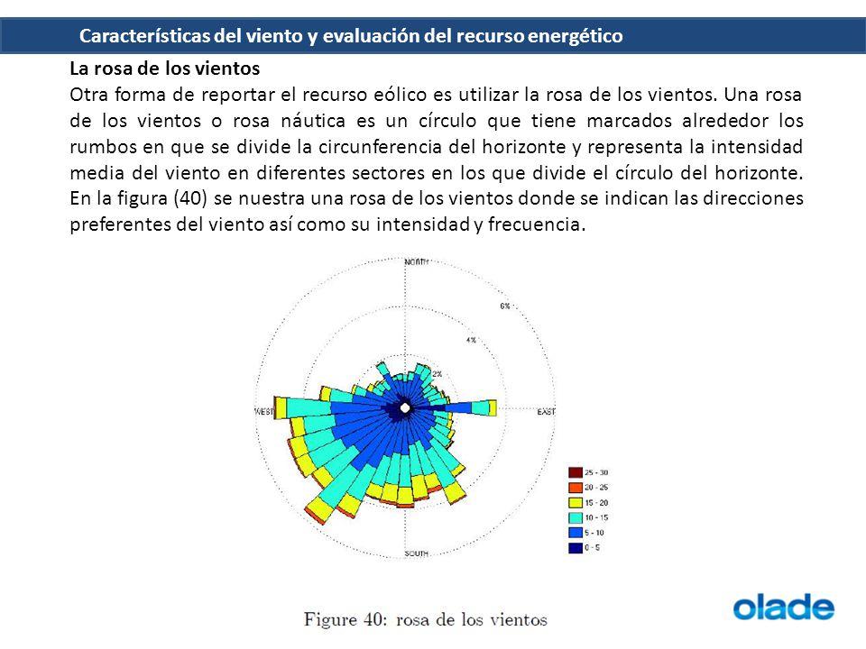 Características del viento y evaluación del recurso energético La rosa de los vientos Otra forma de reportar el recurso eólico es utilizar la rosa de
