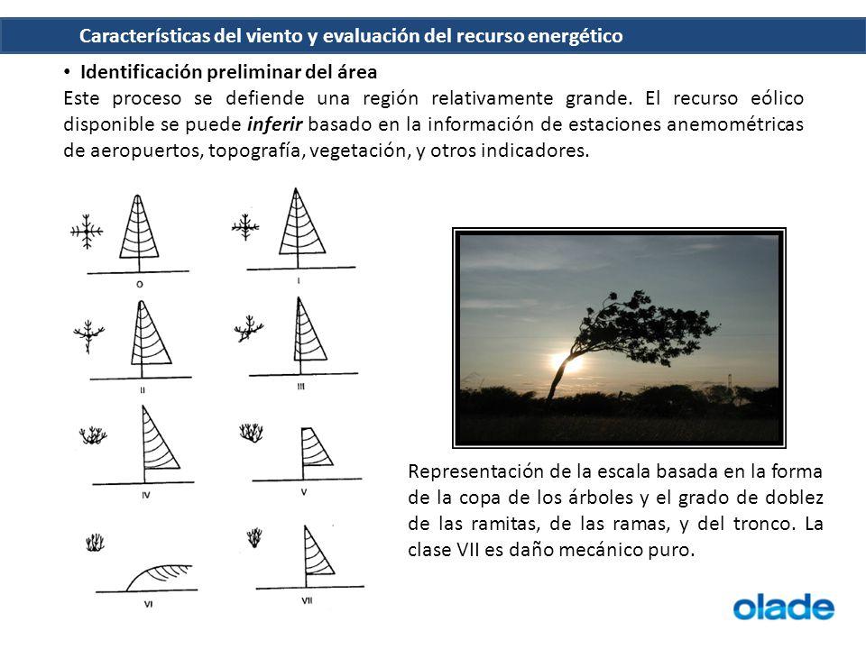 Características del viento y evaluación del recurso energético Identificación preliminar del área Este proceso se defiende una región relativamente gr