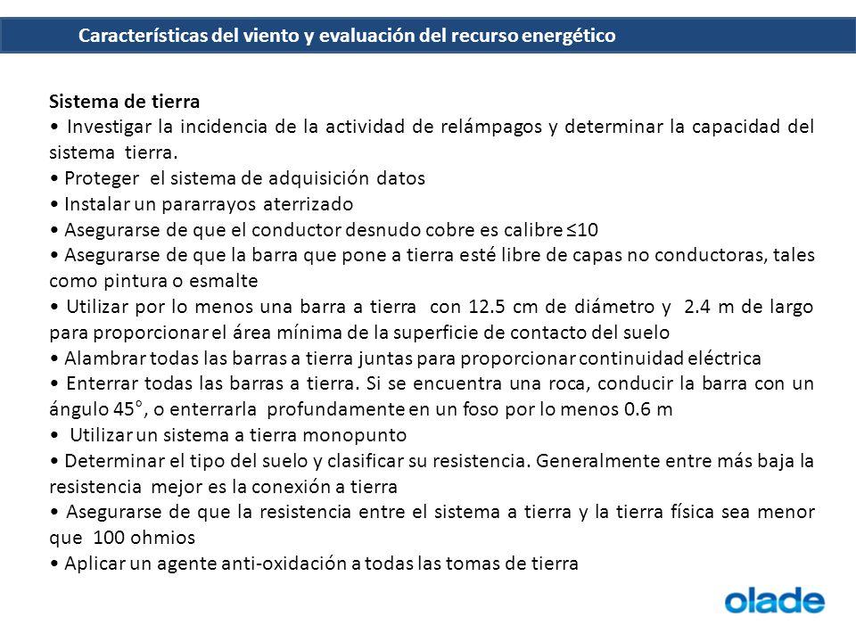 Sistema de tierra Investigar la incidencia de la actividad de relámpagos y determinar la capacidad del sistema tierra. Proteger el sistema de adquisic