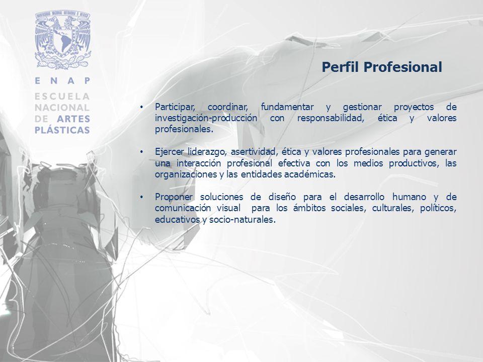 Participar, coordinar, fundamentar y gestionar proyectos de investigación-producción con responsabilidad, ética y valores profesionales. Ejercer lider