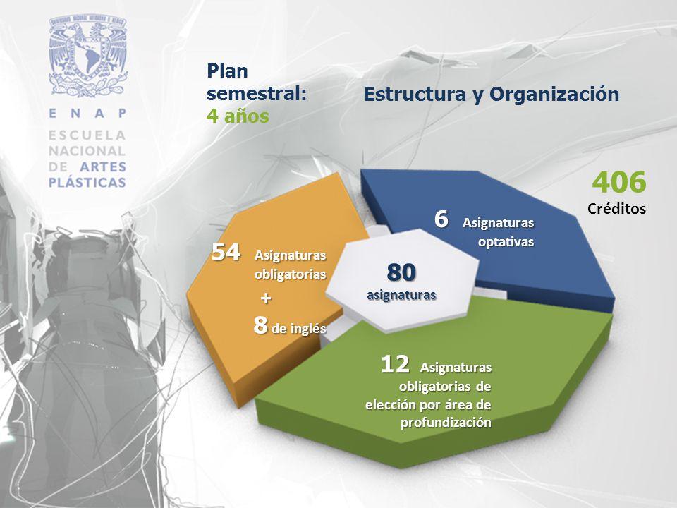 Plan semestral: 4 años 80 asignaturas 54 Asignaturas obligatorias + 8 de inglés 12 Asignaturas obligatorias de elección por área de profundización 6 A