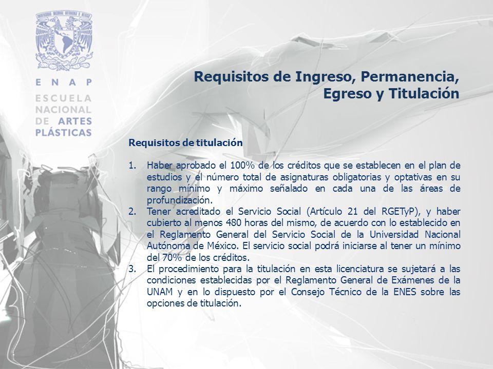 Requisitos de titulación 1.Haber aprobado el 100% de los créditos que se establecen en el plan de estudios y el número total de asignaturas obligatori