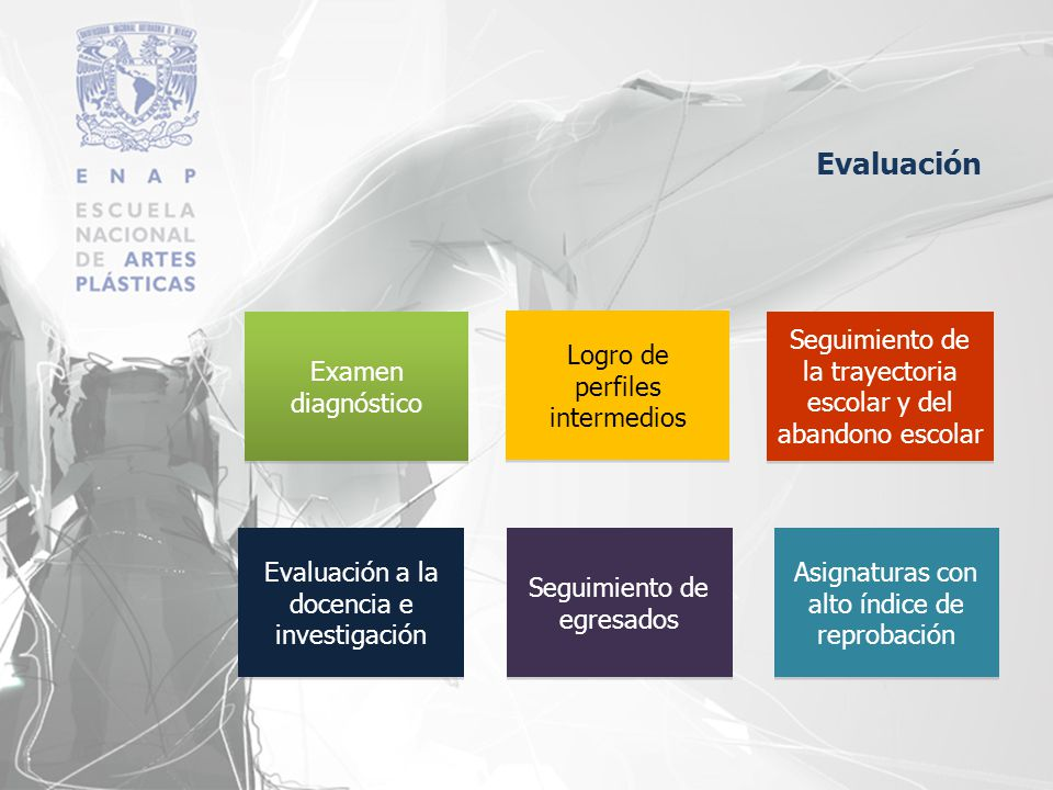 Examen diagnóstico Logro de perfiles intermedios Seguimiento de la trayectoria escolar y del abandono escolar Asignaturas con alto índice de reprobaci