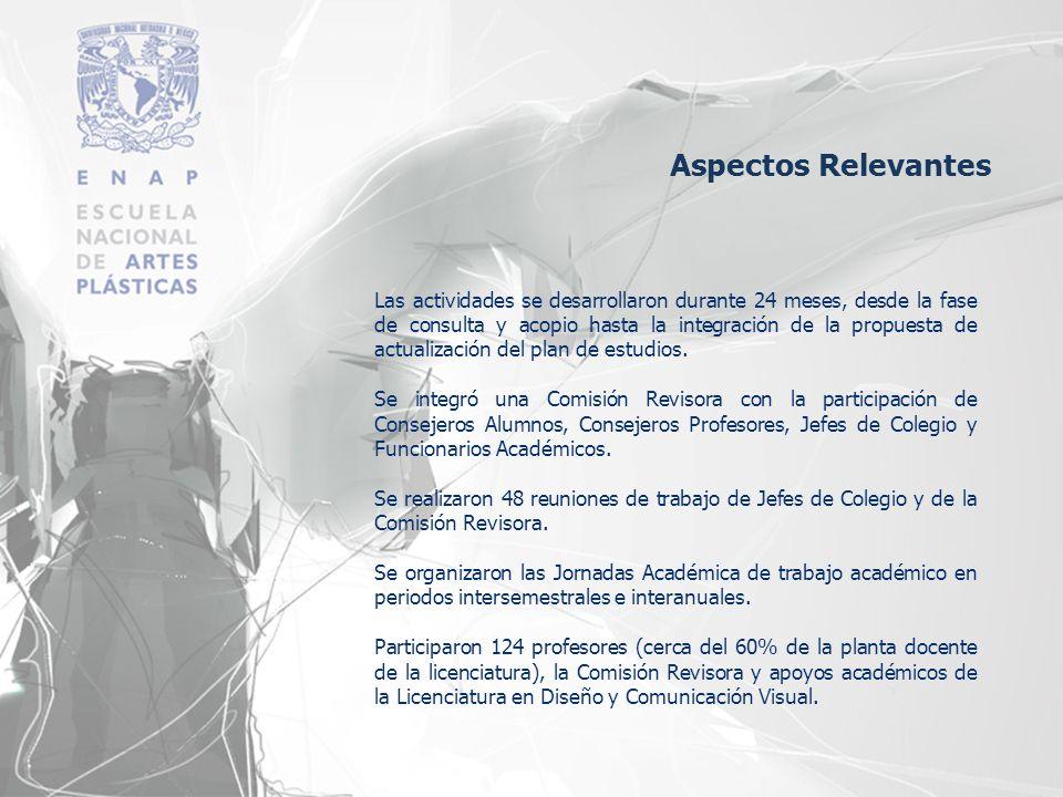 Aspectos Relevantes Las actividades se desarrollaron durante 24 meses, desde la fase de consulta y acopio hasta la integración de la propuesta de actu