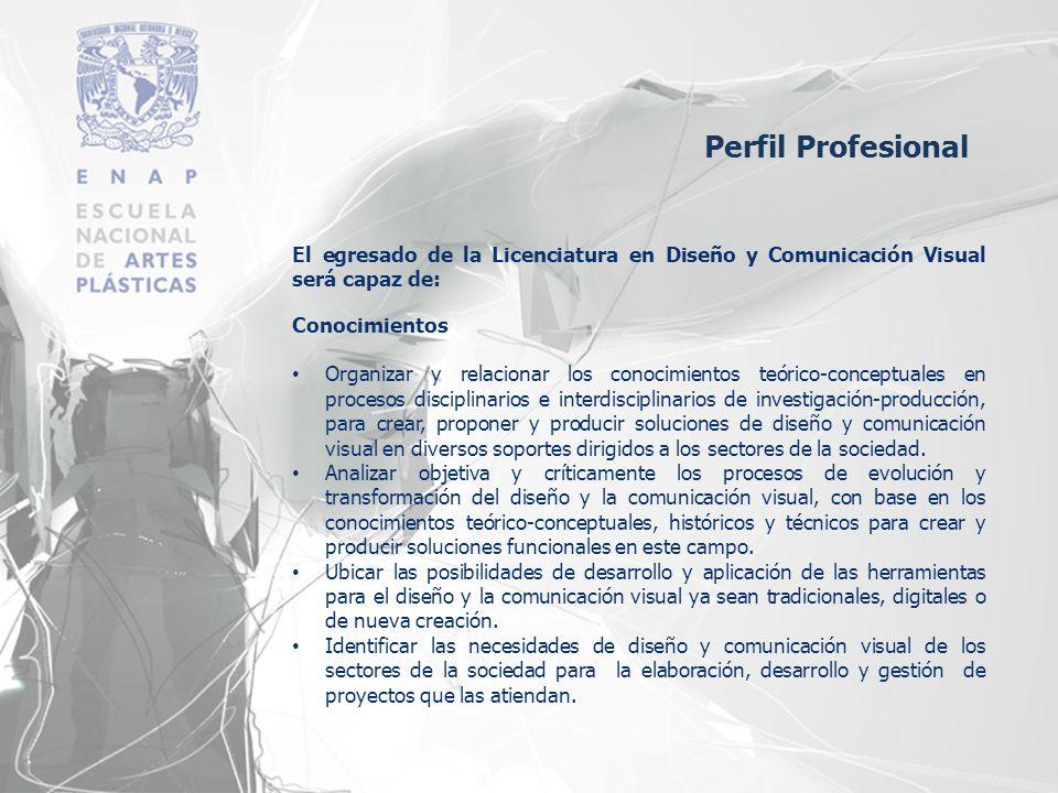 El egresado de la Licenciatura en Diseño y Comunicación Visual será capaz de: Conocimientos Organizar y relacionar los conocimientos teórico-conceptua