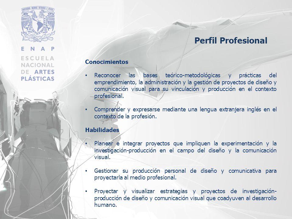 Conocimientos Reconocer las bases teórico-metodológicas y prácticas del emprendimiento, la administración y la gestión de proyectos de diseño y comuni
