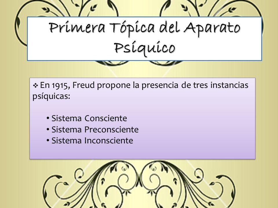 Primera Tópica del Aparato Psíquico En 1915, Freud propone la presencia de tres instancias psíquicas: Sistema Consciente Sistema Preconsciente Sistema