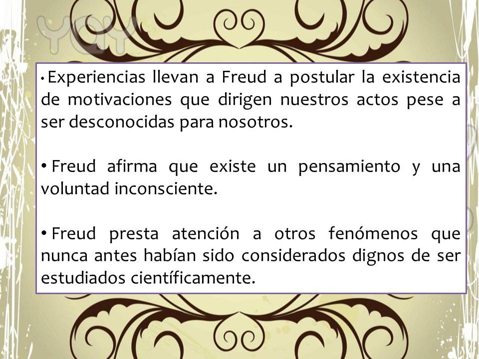 Experiencias llevan a Freud a postular la existencia de motivaciones que dirigen nuestros actos pese a ser desconocidas para nosotros. Freud afirma qu