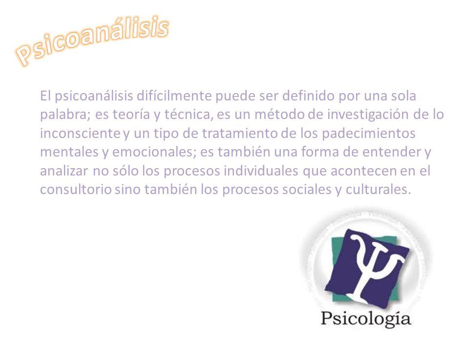 El psicoanálisis difícilmente puede ser definido por una sola palabra; es teoría y técnica, es un método de investigación de lo inconsciente y un tipo