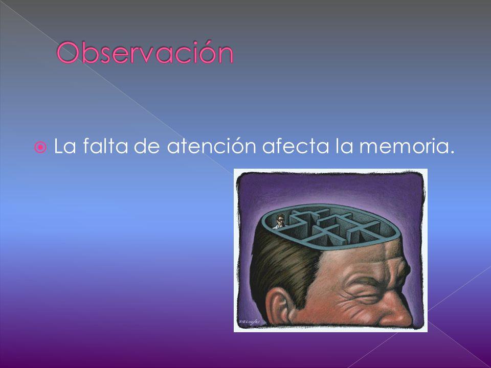 La falta de atención afecta la memoria.